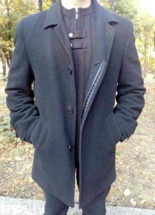 Мужское, пальто, шерстяное, классическое, демисезонное, черное...