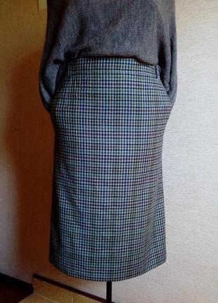 Очень красивая шерстяная юбка карандаш в клетку на подкладке н...