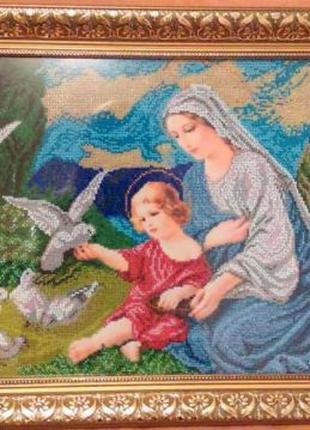 """Икона """"Мадонна с младенцем и голубями"""""""