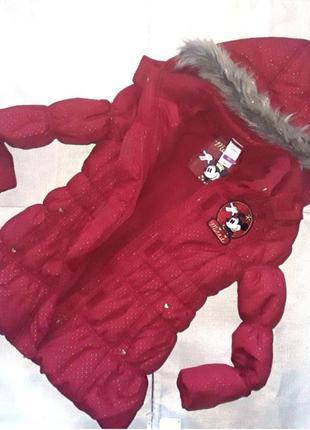 Теплая  куртка disney minnie красная с золотистым и флисовый ш...