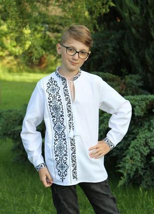 Ексклюзивна вишиванка для маленького модника(сіро-чорна...