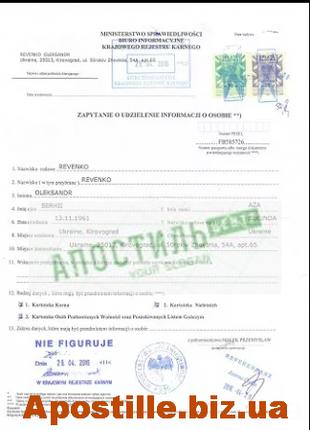 Справка о несудимости из Министерства Юстиции Польши