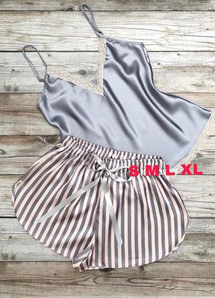 Пижама атлас, женская, шорты + майка, комплект для дома, турци...