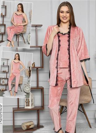 Шикарный домашний комплект, штаны майка халат, пижама, одежда ...