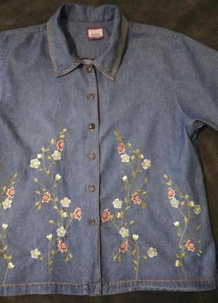 211 рубашка джинс коттон с вышивкой