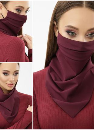Стильная маска- платок в бордовом цвете