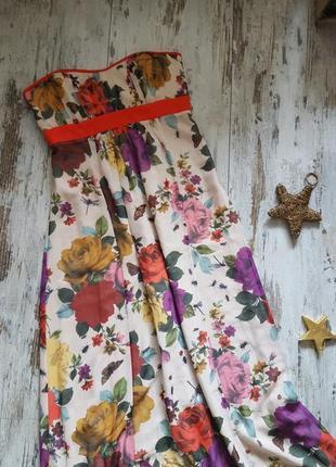 Длинное шикарное платье цветы розы