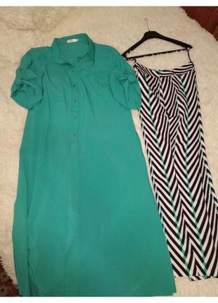 Костюм платье-рубашка +штаны, размер 48