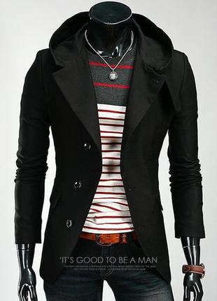 Пальто мужское из кашемира с капюшоном .