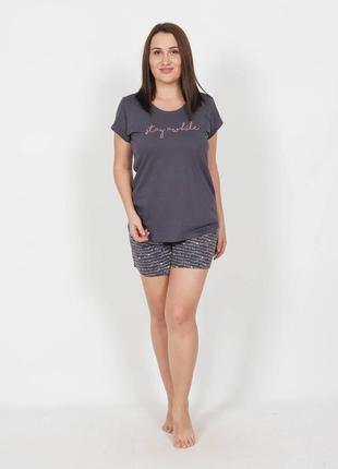 Женский хлопковый комплект домашней одежды шорты и футболка бо...