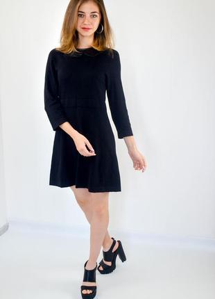 Mark&spencer черное платье - трапеция с рукавами и отделкой на...