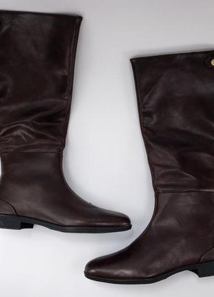 Женские ботфорты кожаные бордо 41 размер на флисе высокие новые