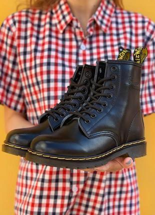 Кожаные ботинки dr. martens 1460 black шкіряні черевики натура...