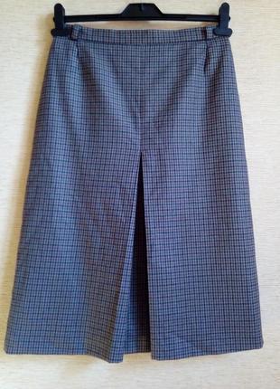 Шерстяная юбка в клетку гусиные лапки на подкладке а-силуэта