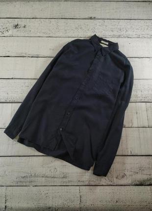 Рубашка темно-синяя h&m