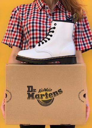 Белые кожаные ботинки dr. martens 1460 white білі шкіряні чере...