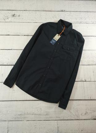Рубашка мужская черная slim fit blend