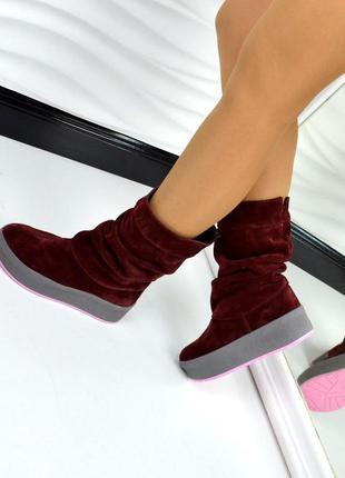 Замшеві чоботи на товстій підошві замшевые сапоги сапожки угги...