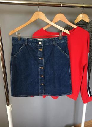 Трендовая джинсовая юбка с пуговицами спереди river island