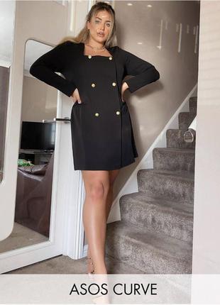 Платье-пиджак на пуговицах чёрный блейзер asos двубортный трик...