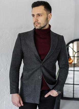 Пальто мужское кашмир слимфит с бортами / пальто чоловіче кашмір