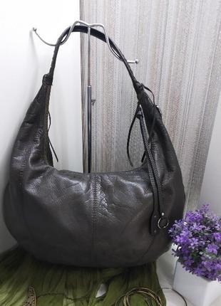 Большая практичная сумка хобо abro, германия, натуральная кожа