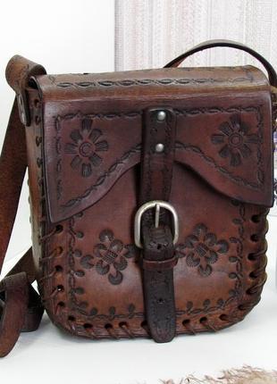 Эффектная брутальная сумка, натуральная кожа