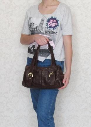 Удобная сумка f&f, британия, натуральная кожа