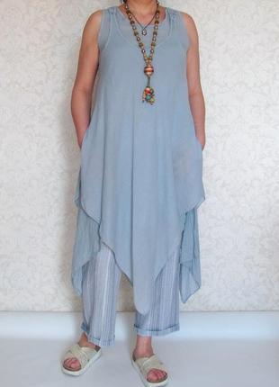Платье туника в стиле бохо, италия, шелк, хлопок