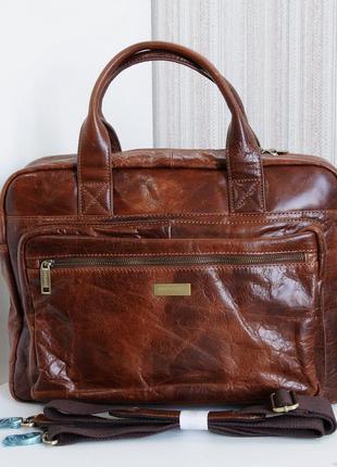 Деловая статусная сумка pierre by elba, натуральная кожа