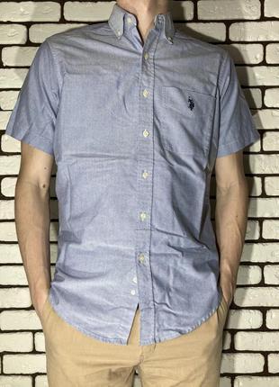 Голубая, классическая рубашка us polo assn