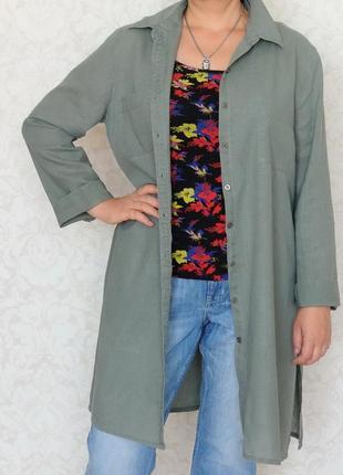 Рубашка, кардиган atmosphere, лен, хлопок