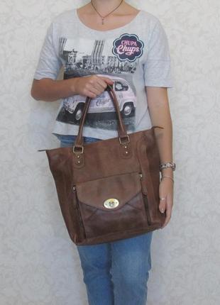 Большая стильная сумка aura, натуральная кожа