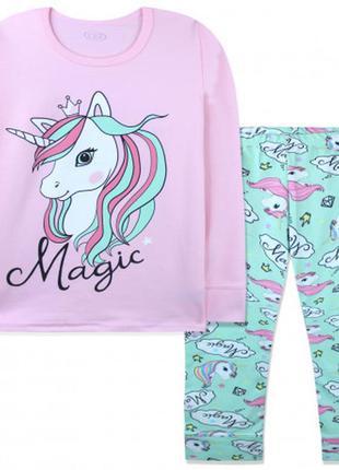 Пижама для девочки, розовая. единорог с короной.