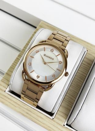 Женские часы на браслете, оттенок розовое золото