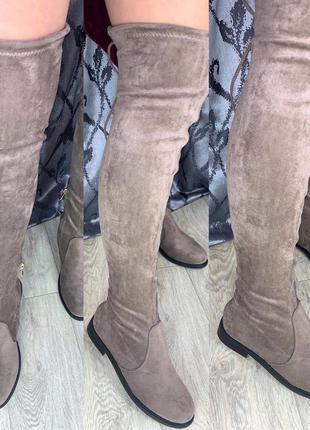 Замшевые шикарные ботфорты на низком ходу