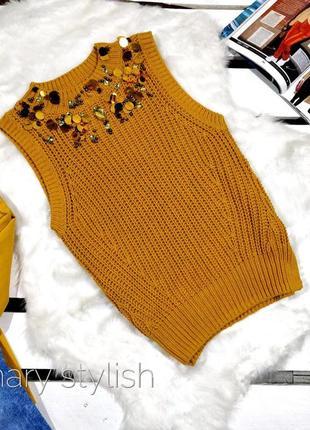 Свитер без рукавов жилет горчично-желтого цвета просто вау ❤️