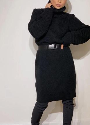 Женский теплый удлиненный свитер-туника объемный свитер вязанн...