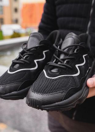 Adidas ozweego black мужские чёрные демисезонные кроссовки ади...