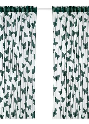 Тюль Ikea NASSELFJARIL высота 3 метра зеленые бабочки. В наличии