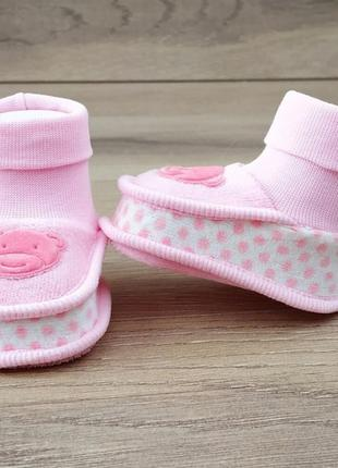 Велюровые пинетки чепчики для новорожденных
