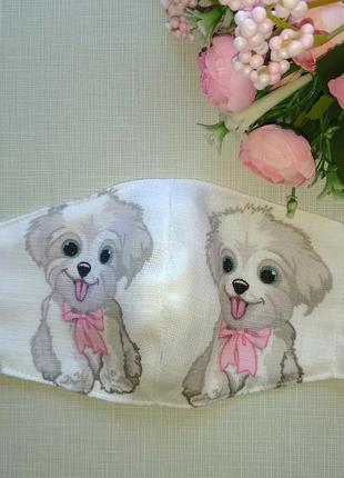 Детская маска с муслина с собачками
