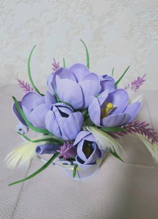 Цветы из фоамирана в ведёрке