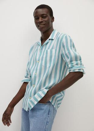 Рубашка mango man из хлопка и льна в полоску !