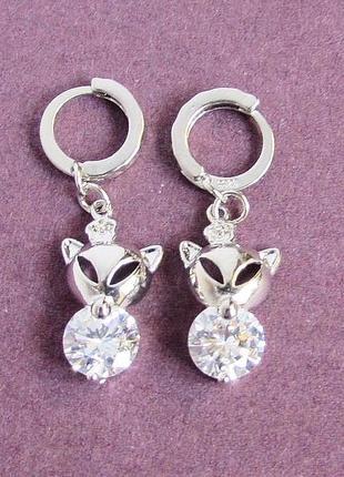 🏵️серьги лисы в серебре 925 с цирконами, новые! арт. 109378