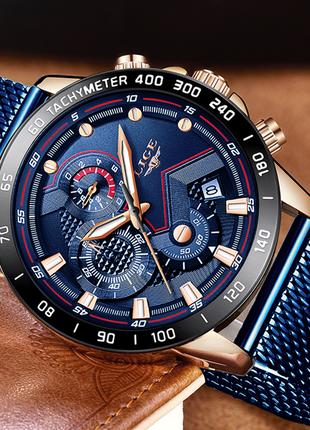 Стильные деловые часы LIGE 9929
