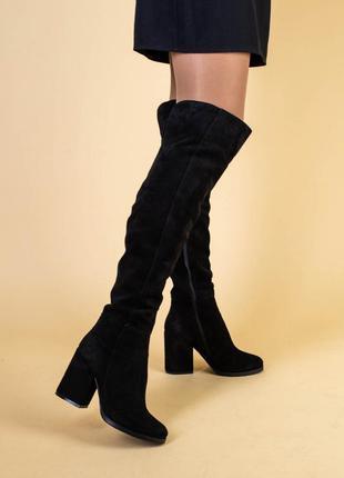Розпродаж! 🥳🥳🥳 ботфорти жіночі замшеві чорні на каблуці, демис...