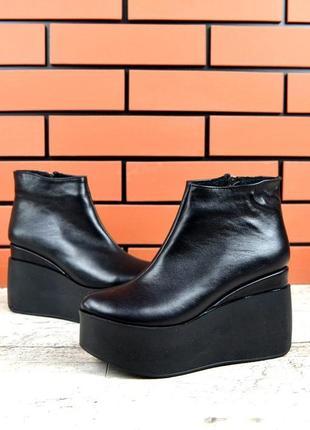 Натуральная кожа короткие зимние кожаные ботинки на платформе ...