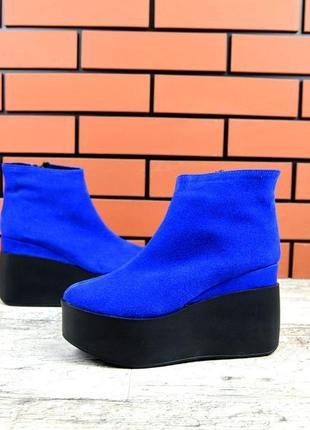 Натуральная замша короткие зимние замшевые ботинки на платформ...