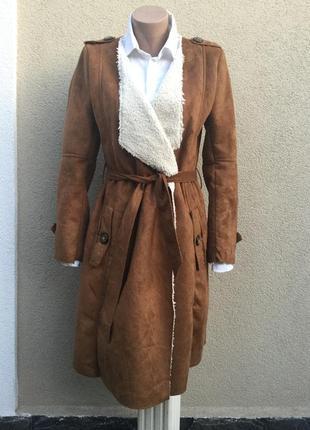 Красивая,меховая,замшевая дубленка на запах,пальто,тренч.me jane